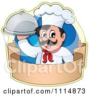 Clipart Happy Male Chef Holding A Cloche Over A Banner With A Blue Circle Royalty Free Vector Illustration by visekart