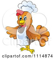 Clipart Chef Chicken Wearing A Hat And Apron Royalty Free Vector Illustration by visekart