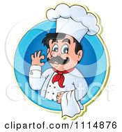Happy Male Chef Gesturing Ok And Holding A Towl In A Blue Circle