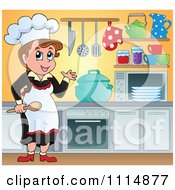 Clipart Female Chef Cooking In A Professional Kitchen Royalty Free Vector Illustration by visekart