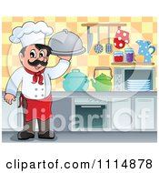 Clipart Happy Male Chef Holding A Cloche In A Kitchen Royalty Free Vector Illustration by visekart