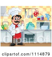 Clipart Happy Male Chef Gesturing Ok In A Kitchen Royalty Free Vector Illustration by visekart