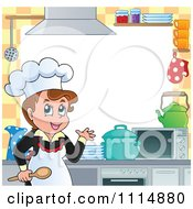 Clipart Frame Of A Female Chef Cooking In A Professional Kitchen With Copyspace Royalty Free Vector Illustration by visekart