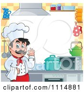 Clipart Frame Of A Happy Male Chef Gesturing Ok In A Kitchen Around White Copyspace Royalty Free Vector Illustration by visekart