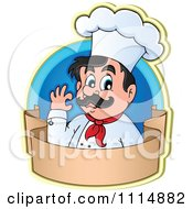 Happy Male Chef Gesturing Ok In A Blue Circle With A Blank Banner