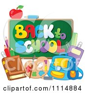 Clipart Back To School Chalkboard With Supplies Royalty Free Vector Illustration