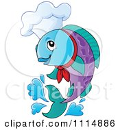 Clipart Jumping Chef Fish Royalty Free Vector Illustration by visekart