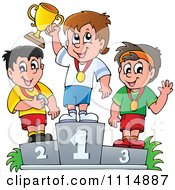 Clipart Athletes Standing On Placement Podiums Royalty Free Vector Illustration by visekart