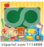 Clipart Blank Chalkboard With School Supplies Royalty Free Vector Illustration