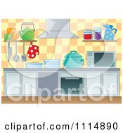 Clipart Modern Kitchen With Appliances Royalty Free Vector Illustration