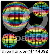 Rainbow Colored Disco Ball Spheres On Black