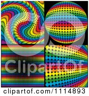 Clipart Rainbow Colored Disco Ball And Backgrounds On Black Royalty Free Vector Illustration