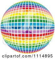 Clipart Rainbow Colored Disco Ball Sphere 4 Royalty Free Vector Illustration