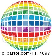 Clipart Rainbow Colored Disco Ball Sphere 2 Royalty Free Vector Illustration