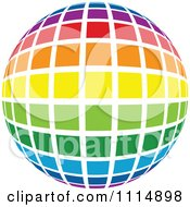Clipart Rainbow Colored Disco Ball Sphere 3 Royalty Free Vector Illustration by dero