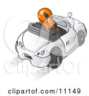 Orange Businessman Talking On A Cell Phone While Driving In A Convertible Car Clipart Illustration