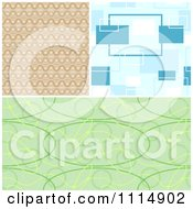 Clipart Seamless Tan Blue And Green Background Patterns Royalty Free Vector Illustration