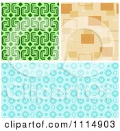 Clipart Seamless Green Tan And Blue Background Patterns Royalty Free Vector Illustration