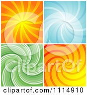 Retro Orange Blue And Green Swirl Backgrounds