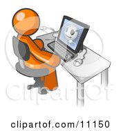 Orange Doctor Man Sitting At A Computer And Viewing An Xray Of A Head Clipart Illustration by Leo Blanchette