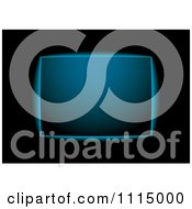 Clipart Glowing Blue Sign On Black Royalty Free Vector Illustration