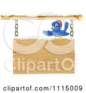 Clipart Christmas Robin With A Santa Hat Pointing Over A Snow Covered Wooden Sign Royalty Free Vector Illustration