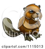 Clipart Cute Happy Beaver Smiling Royalty Free Vector Illustration