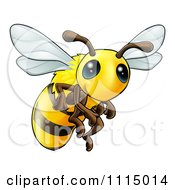 Clipart Very Cute Bee With Big Eyes Royalty Free Vector Illustration by AtStockIllustration
