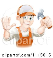 Clipart Happy Handy Man Holding A Hammer And Waving Royalty Free Vector Illustration