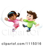 Clipart Happy Boy And Girl Jumping And Dancing Together Royalty Free Vector Illustration by AtStockIllustration