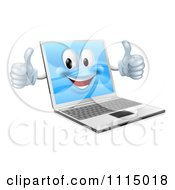 Clipart 3d Happy Laptop Mascot Holding Two Thumbs Up Royalty Free Vector Illustration