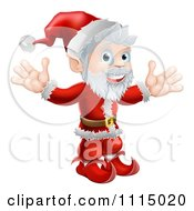 Clipart Cheerful Santa Holding Both Hands Up Royalty Free Vector Illustration