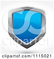 3d Reflective Blue And Silver Shield With A Shadow