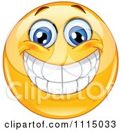 Clipart Happy Smiley Face With A Big Toothy Grin Royalty Free Vector Illustration