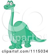 Clipart Cute Green Brontosaurus Dinosaur Smiling Royalty Free Vector Illustration by yayayoyo
