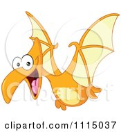 Clipart Cute Pterodactyl Flying Royalty Free Vector Illustration