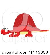 Clipart Cute Red Spinosaurus Smiling Royalty Free Vector Illustration