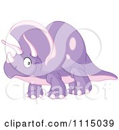 Clipart Cute Purple Triceratops Smiling Royalty Free Vector Illustration