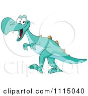 Clipart Cute Green Tyrannosaurus Rex Smiling Royalty Free Vector Illustration by yayayoyo