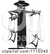 Clipart Priest Controlling People On Puppet Strings Black And White Woodcut Royalty Free Vector Illustration