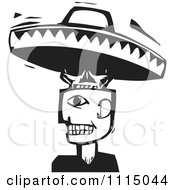 Man With A Skull And Sombrero Head Black And White Woodcut