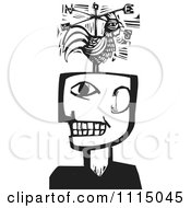 Clipart Man With A Rooster Weathervane Black And White Woodcut Royalty Free Vector Illustration by xunantunich #COLLC1115045-0119