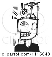 Clipart Man With A Gear Pulley Brain Black And White Woodcut Royalty Free Vector Illustration