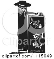 Clipart Person Leaning On A Fish Tank Black And White Woodcut Royalty Free Vector Illustration by xunantunich