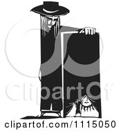 Clipart Person Leaning On A Stage With A Girl Opening A Curtain Black And White Woodcut Royalty Free Vector Illustration by xunantunich