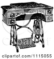 Clipart Vintage Black And White Antique Foot Crank Sewing Machine Table Royalty Free Vector Illustration by Prawny Vintage