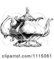 Vintage Black And White Ornate Tea Pot 2