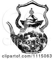 Clipart Vintage Black And White Ornate Tea Pot 1 Royalty Free Vector Illustration