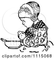 Clipart Vintage Black And White Girl Praying Before Eating 3 Royalty Free Vector Illustration