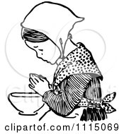 Clipart Vintage Black And White Girl Praying Before Eating 4 Royalty Free Vector Illustration